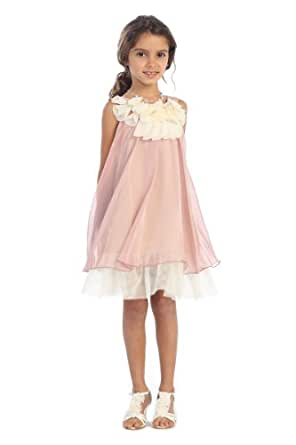 Amazon.com: Kids Dream Girls Coral Chiffon Short Flower ...