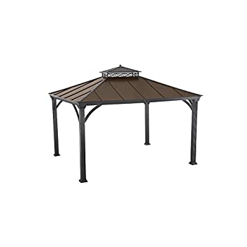 sunjoy 12 x 10Two-Tier Hardtop Gazebo, Matt Black Poles and Frame with Rich Brown Proof