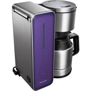 Panasonic Coffee Maker with High Quality Stainless Steel & Glass Finish, Violet (NC-ZF1V) -