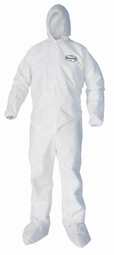 Kimberly-Clark KleenGuard A35 Liquid and Particle Protection Coverall with Hood and Boot, Elastic Wrist, X-Large, White (Case of 25)