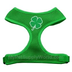 Dog Supplies Shamrock Screen Print Soft Mesh Harness Emerald Green Medium