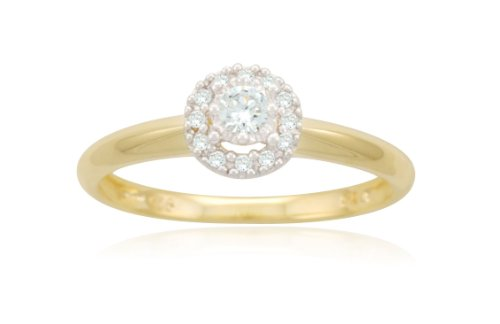 Yellow Gold Plated Sterling Silver Circle Cluster Diamond Ring (0.15 cttw, I-J Color, I2-I3 Clarity), Size 6