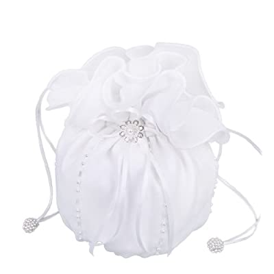 Flora Chiffon Bridal Dolly Bag/Bridesmaid Handbag,beads (IVORY) - wristlets