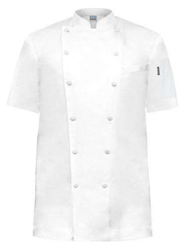 Newchef Fashion Prince White Egyptian Cotton Chef Coat Breast Pocket Short Sleeves