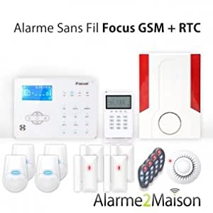 Focus - Alarme Maison sans fil Focus GSM + RTC - 5 à 6 Pièces Incendie