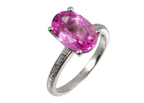 Ladies' Pink Sapphire and Diamond Shoulders Ring, 9ct White Gold, 4 Claw Set, Round Cut, 0.03 Carat Diamond Weight, Ring Size M, Model PR6303W PINKSA (R.)