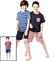 3 Pack Pure Cotton Striped Short Pyjamas