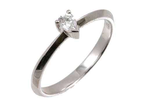 9ct White Gold Diamond Engagement Ring with Pear Cut Diamond Solitaire, 0.15 Carat Diamond Weight