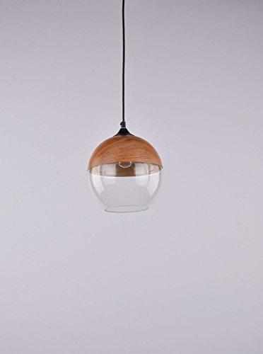 Pendelleuchte-Boda-I-Glas-Kugel-Ball-Metall-Holzoptik-Down-Moderne-Hngelampe-Bar-Theke-Esstisch