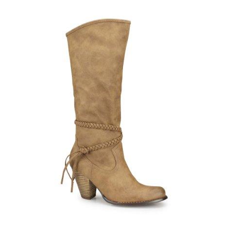 Damen Stiefel - Durch die Flechtriemen erhalten die Winterstiefel mit Absatz ein lässig cooles Erscheinungsbild khaki 37