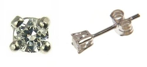 9ct White Gold 25pt Total Diamond Stud Earrings