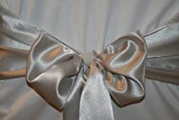 Silver Satin Wedding Chair Sash Bows (Set of 10) by Summerfield