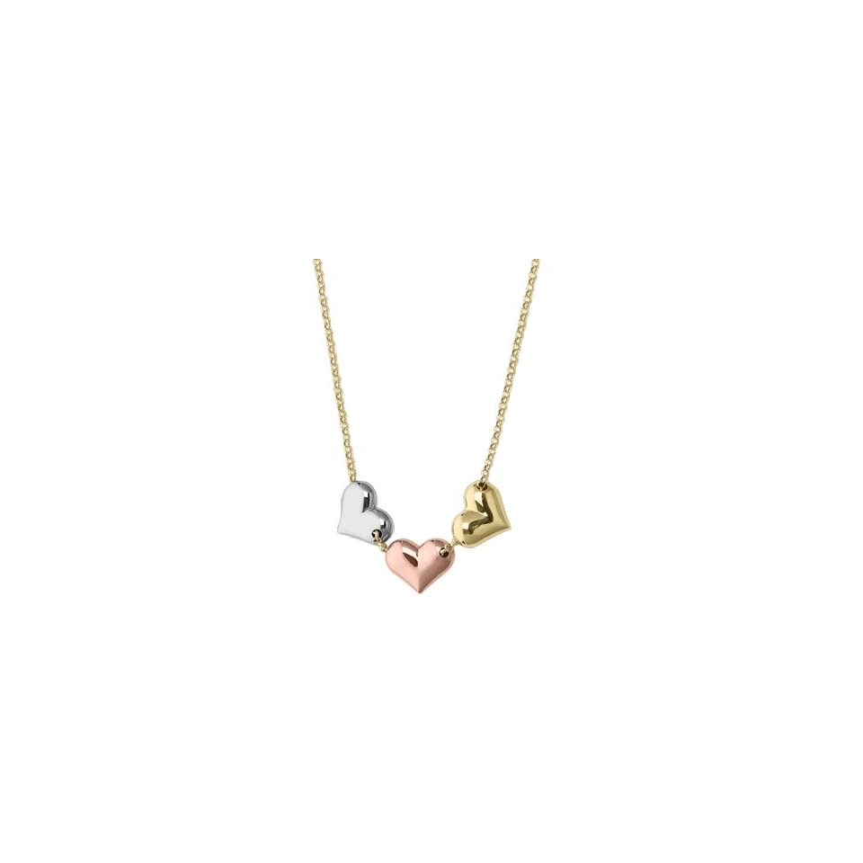 Tri Color Heart Pendant in 14K Yellow, White and Pink Gold Jewelry