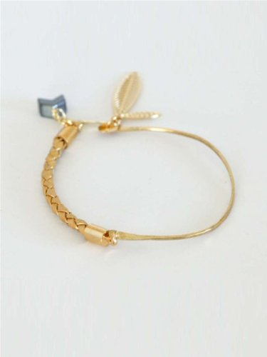 Kris Nations Mesilla Cuff With Leather - Gold/Brass