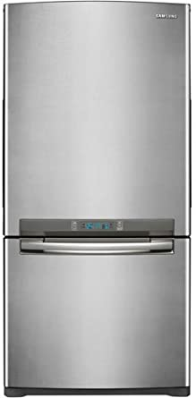 Samsung: RB197ACPN 18.0 cu. ft. Counter-Depth Bottom-Freezer Refrigerator with 3 Glass Shelves, Twin Cooling System, Temperature Sensor, Power Freeze/Cool Options, Ice Maker and External Digital Display/Control: Stainless Platinum