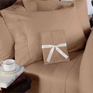 Italian 1200 Thread Count Egyptian Cotton Duvet Cover Set , California King, Taupe Solid, Premium Italian Finish
