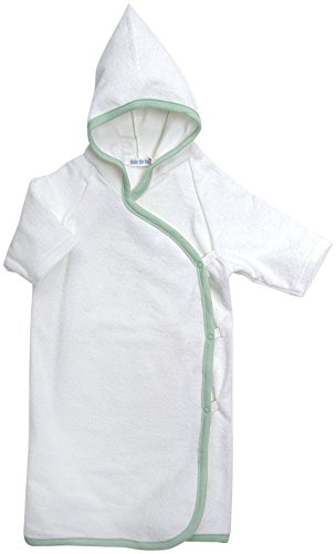 Under the Nile Bath Time Favorites Hooded Terry Kimono in Sage Trim (New Born to 6 months)