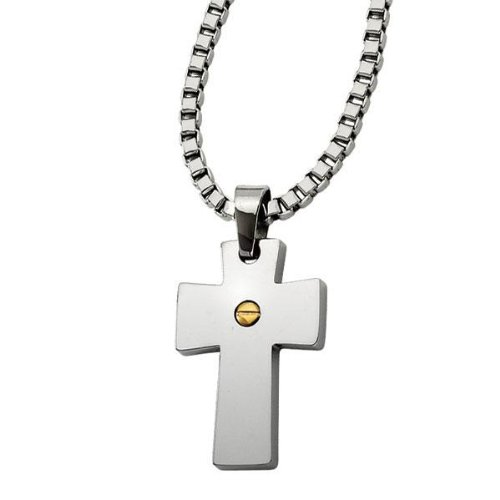 Two-Tone Stainless Steel Cross Pendant