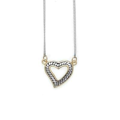 Antique Style Sterling 925 Silver Wire Chain Necklace with Two Tone Antique Heart Designed Pendant(WoW !With Purchase Over $50 Receive A Marcrame Bracelet Free)