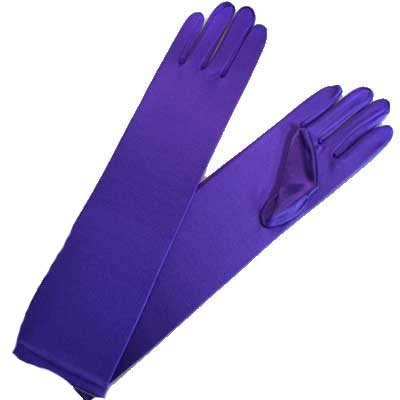 Buy LONG PURPLE SATIN 1/2 ARM ELBOW LENGTH EVENING GLOVES