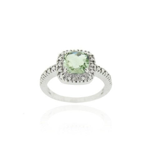 Sterling Silver Green Amethyst & Diamond Accent Square Ring