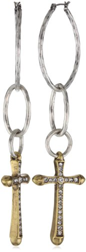 Lucky Brand Hammered Gold-Tone Cross and Silver-Tone Hoop Earrings