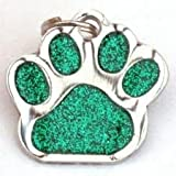 Glitter Pet Tag Green Paw Print Design 26mm S/Steel From Melian - MESSAGE US WITH TEXT REQUIRED