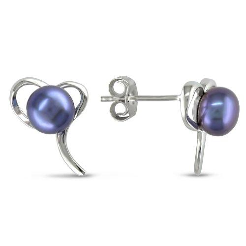 Sterling Silver Freshwater Black Pearl Stud Earrings
