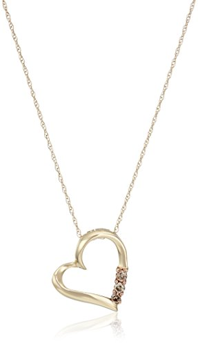 "Diamond 3-Stone Heart Pendant Necklace (1/10 cttw, I-J Color, I2-I3 Clarity), 18"""