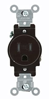 15 Amp, Narrow Body Single Receptacle, Straight Blade, Tamper Resistant, 125 Volt, Commercial Grade, Grounding, Brown/Ivory/White, T5015