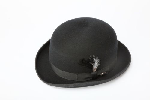 [New Mens 100% Wool Black Derby Bowler Hat] (A Clockwork Orange Alex Costume)