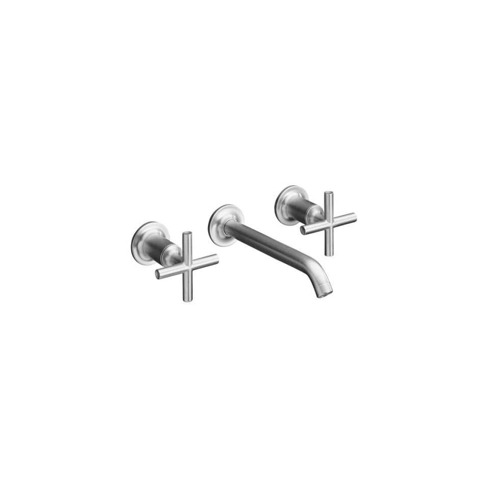 Kohler Purist Brushed Chrome Wall Mount Bathroom Sink Faucet, 8 1/4 Spout + Cylinder Cross Handles