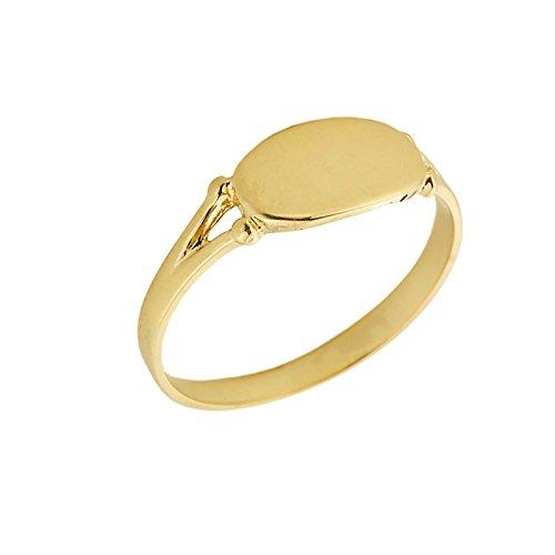 Kleine Schätze – Damen Ring / Verlobungsring / partnerring 10 Karat Gelbgold Gravierbare Signet Siegelring Ring als Geschenk