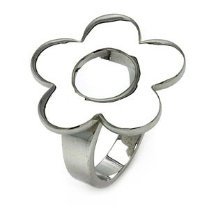 Brass Flower Right Hand Ring Rhodium Plated
