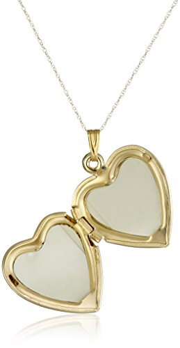 """14k Yellow Gold """"Forever In My Heart"""" Locket Necklace, 18"""""""