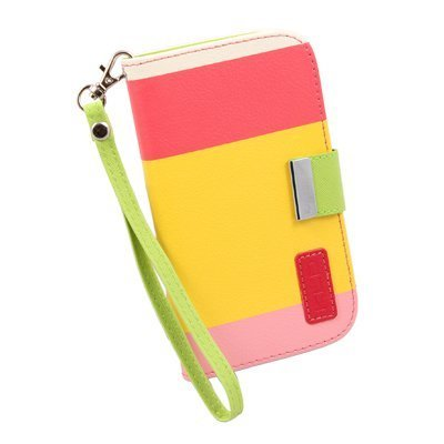 Generic Wallet Pu Leather Case Card Holder Flip Case Cover For Samsung I9300 Galaxy S3 Iii - Retail Packaging - Red/Yellow/Pink