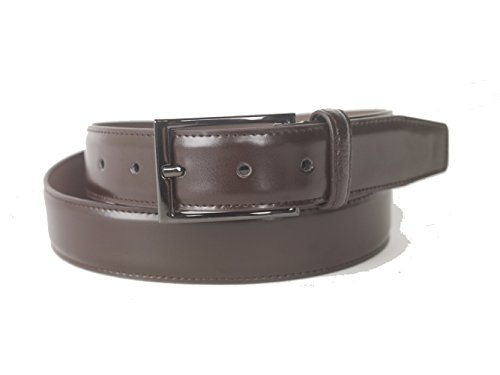 Giorgio Cosani Mens Wide Leather Belt with Tongue Buckle (Dark Pewter) 32 Brown