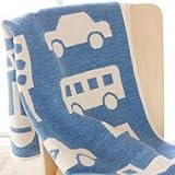 (クリッパン KLIPPAN 2013 COTTON BLANKETAS) ミニブランケット (膝掛け) ブルー 北欧柄 トラフィックジャム (車・クルマ)