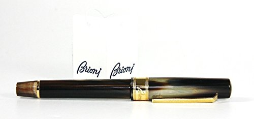 Brioni By Omas Italy Horn & 18k Gold Pen + Leather