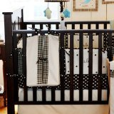 My Baby Sam Mad About Plaid Crib Bumper, Aqua and Chocolate - 1