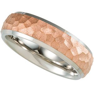 7 mm Titanium and Rose Gold IP Hammered Dome Comfort Fit Band Size 11