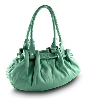 Braided Satchel Hobo Handbag (Blue-Green)