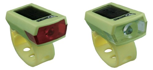 Owleye Twinpack Solar Powered LI-ion Rechargeable LED Headlight & Taillight Set Green. BE SAFE - BE SEEN !!