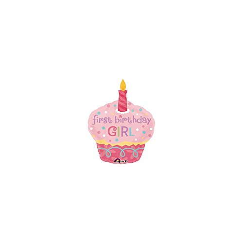 Mayflower BB019030 Cupcake 1st Birthday Girl Jumbo Mylar Balloon