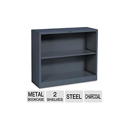 """2-shelf Steel Bookcase 34-1/2""""w Charcoal Home Medical Office"""