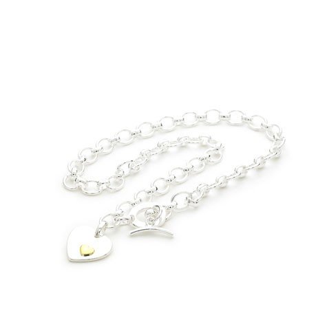 Bling Rocks 925 Sterling Silver Plated Designer Inspired 'Gold Heart' T Bar Quality Charm Necklace