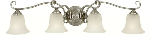 Murray Feiss Vs10404-Bs Four-Light Vista Collection Vanity Strip, Brushed Steel With White Alabaster Glass Shades