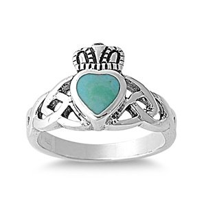 11Mm Southwest Celtic Claddagh Sleeping Beauty Blue Sky Turquoise Navajo Arizona Spirit Inspired - Sterling Silver Ring Size 6-10 (7)