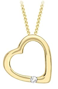 """Carissima 9ct Yellow Gold 0.005ct Diamond Open Heart Pendant on Adjustable Curb Chain Necklace 41cm/16"""" & 46cm/18"""""""