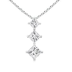 Princess Diamond Three Stone Journey Pendant in Platinum
